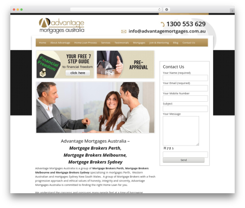 Catalyst top WordPress theme - advantagemortgages.com.au
