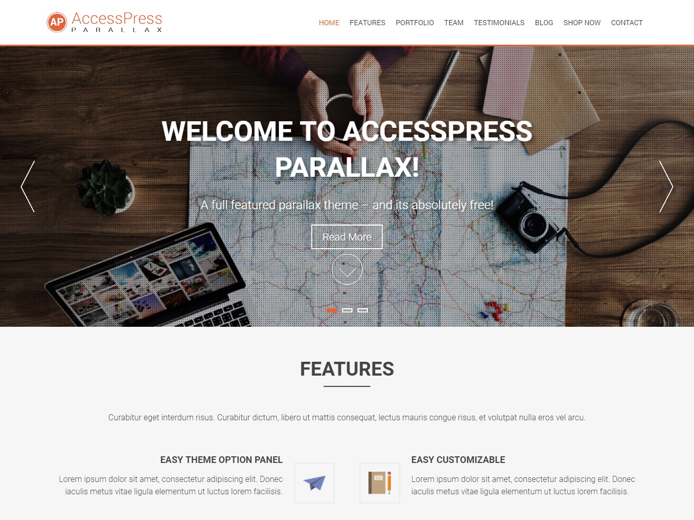Accesspress Parallax Child best WordPress theme