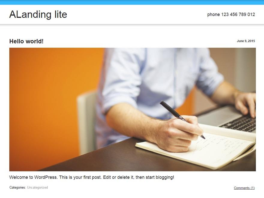 ALanding lite WordPress theme free download