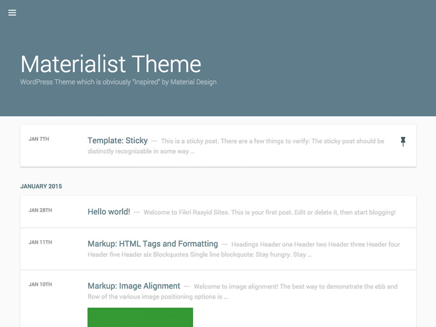 Best WordPress theme Materialist