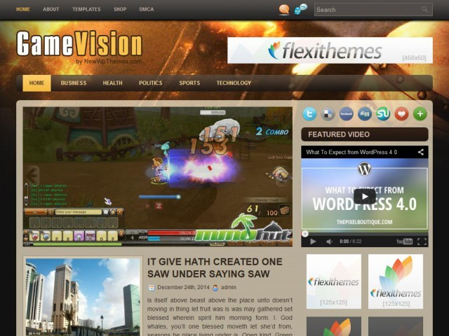 GameVision WordPress blog template