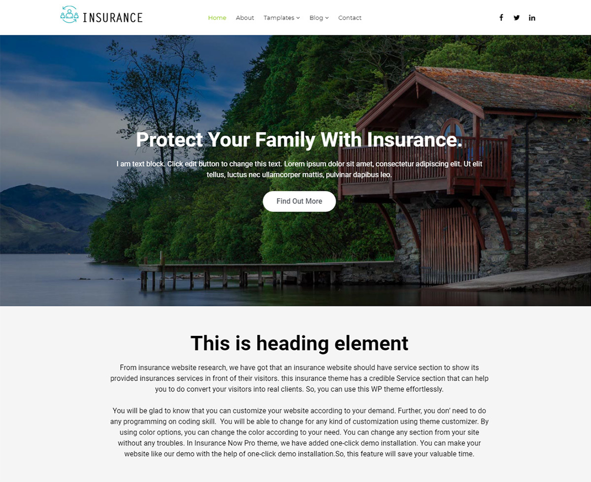 Insurance Now theme WordPress free