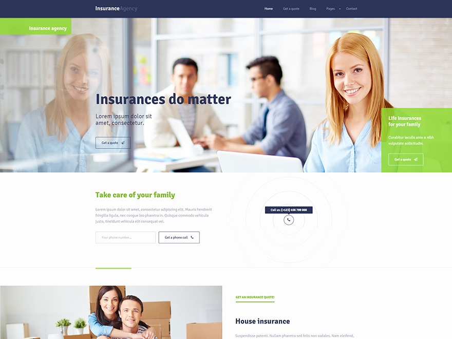 insurance WordPress template for business