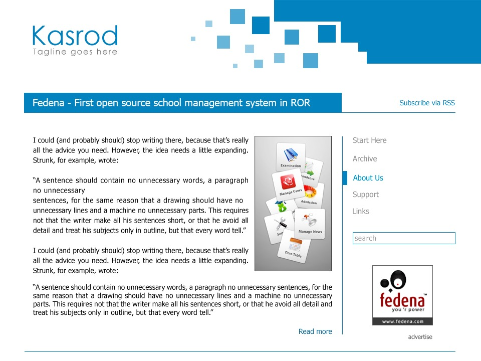 Kasrod WordPress blog template