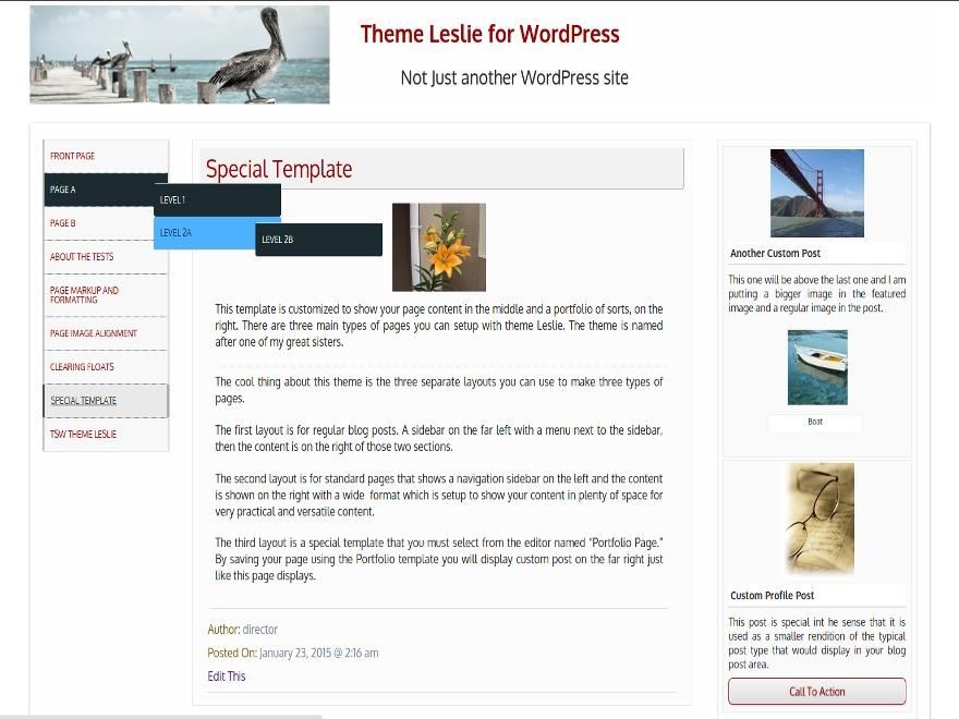 Leslie personal WordPress theme