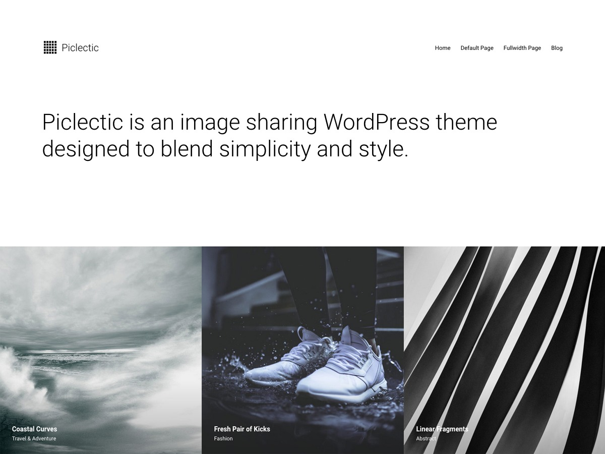 piclectic WordPress photo theme