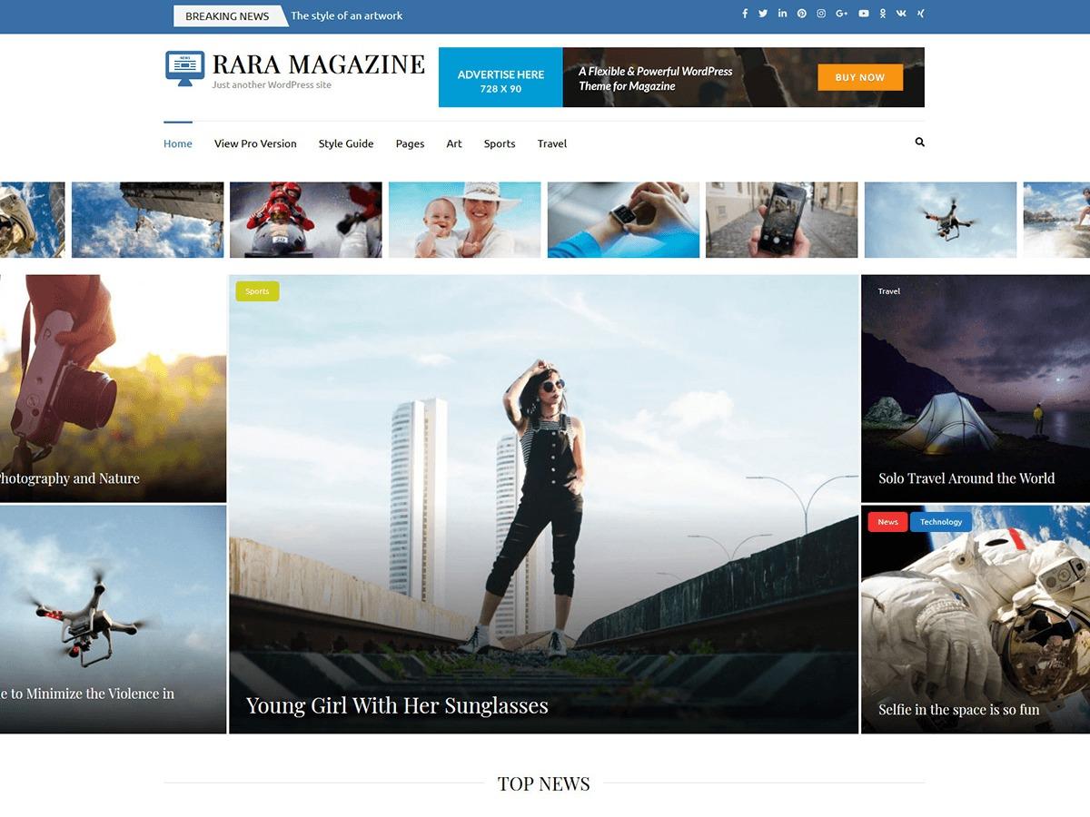 Rara Magazine WordPress magazine theme
