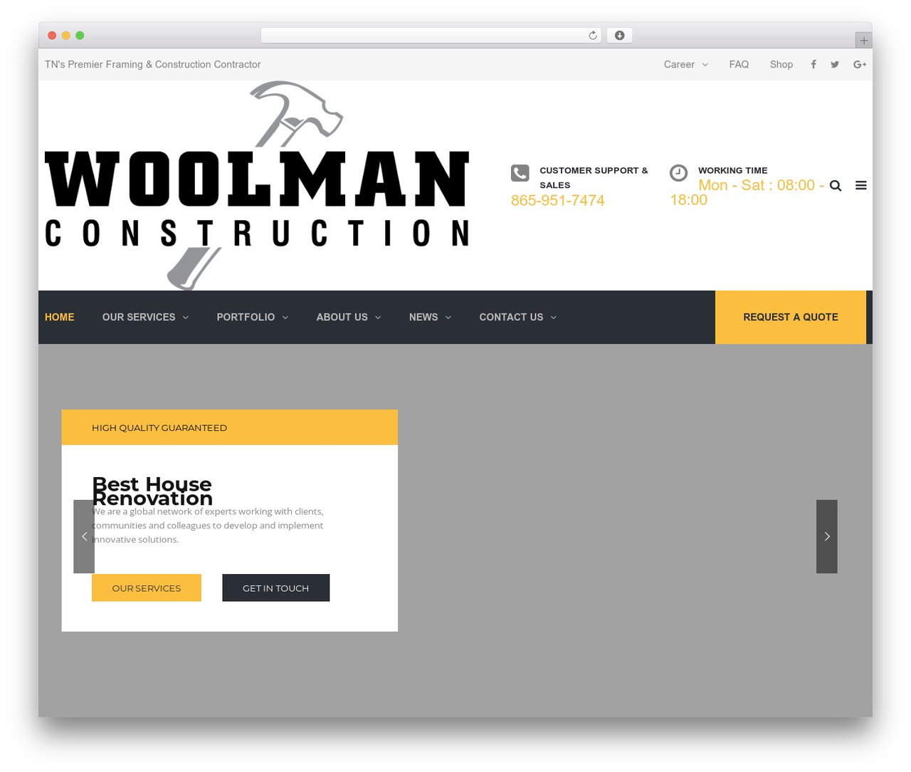 WordPress template TheBuilt - woolmanconstruction.com