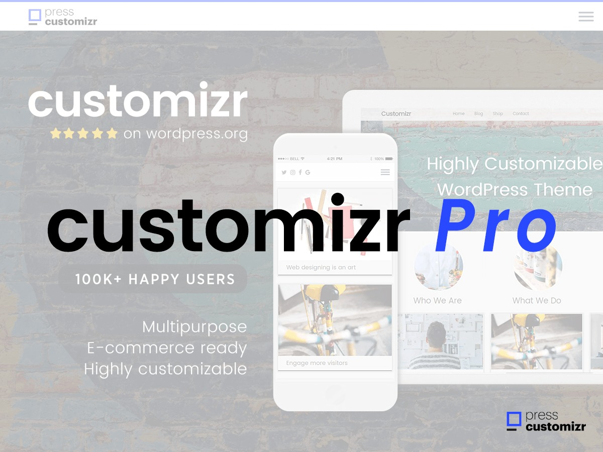 Customizr Pro WordPress page template