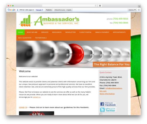 Customized company WordPress theme - ambassadorsbts.com