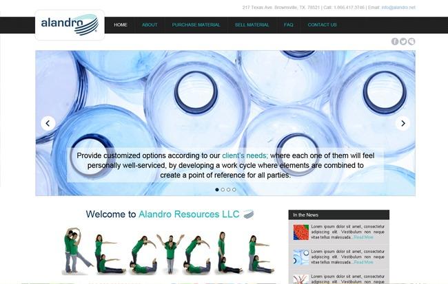Alandro Resources LLC WordPress theme design