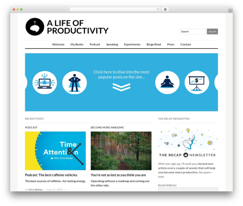 A Life of Productivity WordPress website template - alifeofproductivity.com