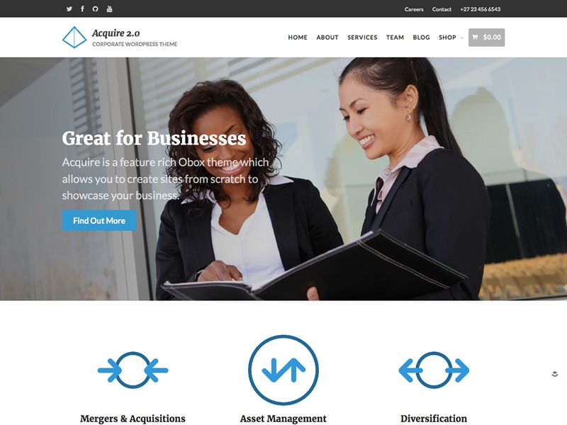 Acquire - WordPress Corporate Theme company WordPress theme