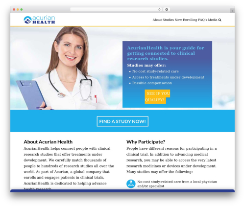 Best WordPress template X - acurianhealth.com