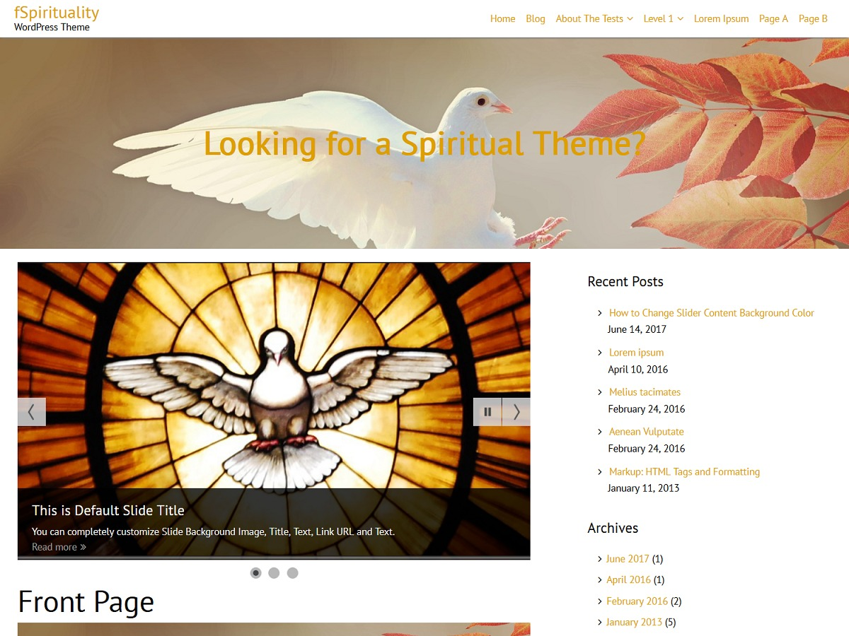 fSpirituality best hotel WordPress theme