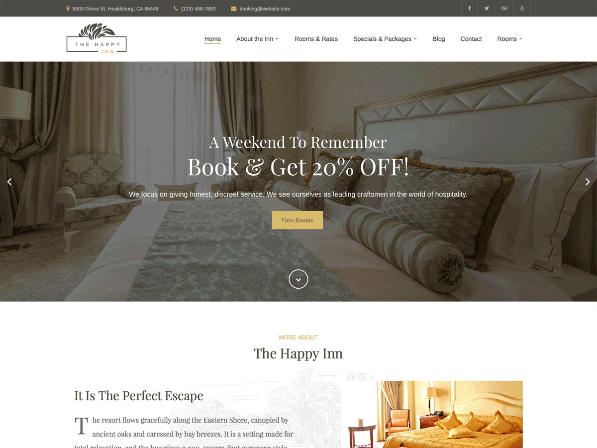 Happy Inn Progression WordPress hotel theme