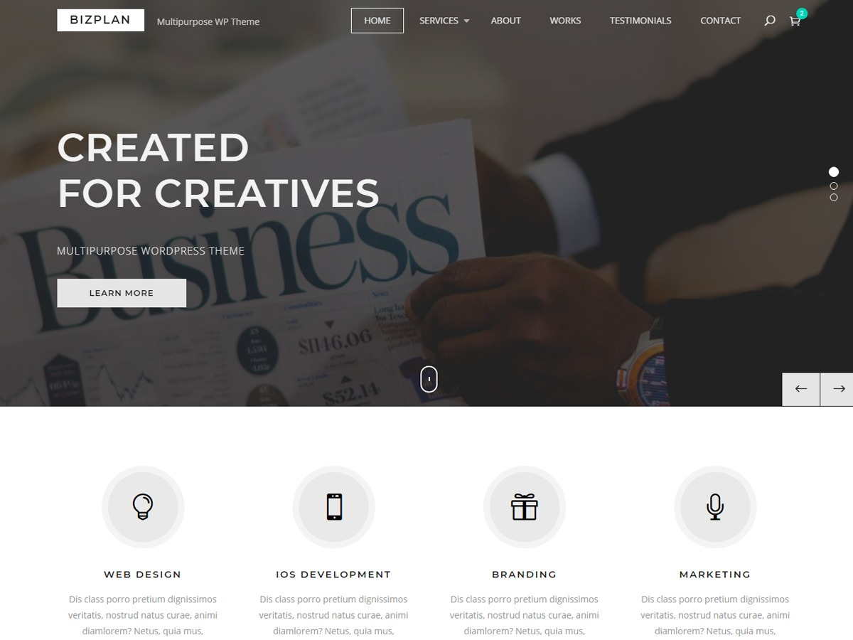 Bizplan company WordPress theme