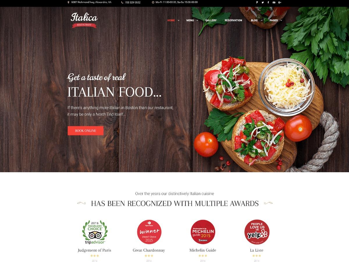 Italica WordPress hotel theme