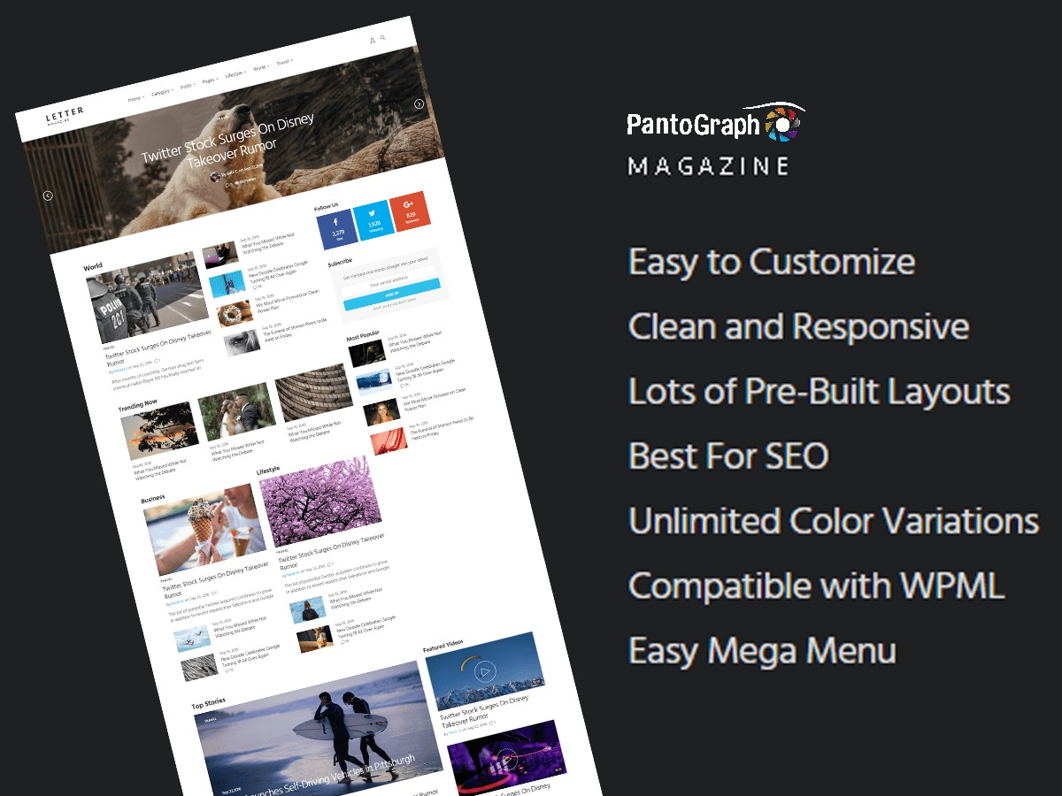 PantoGraph best WordPress magazine theme