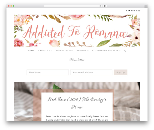 WordPress website template Hallie - Premium - addictedtoromance.org