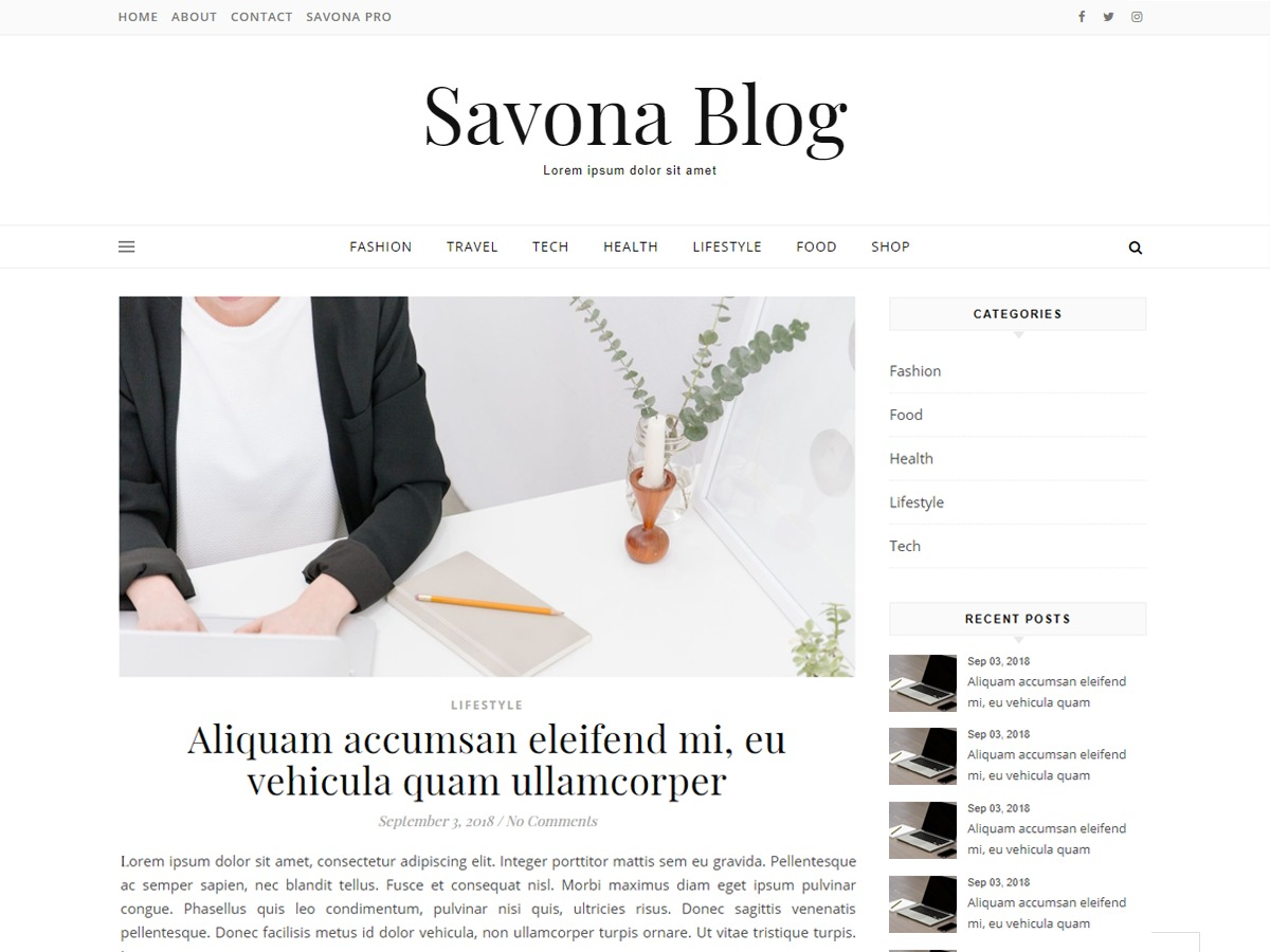 Savona Blog WordPress magazine theme
