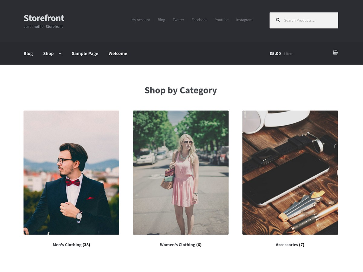 Storefront Child WordPress shopping theme