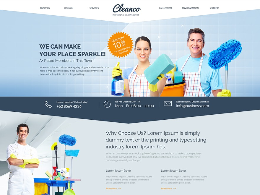 WordPress website template Cleanco child theme