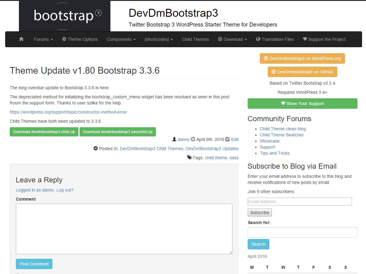 DevDmBootstrap3 WordPress theme design