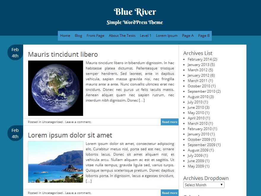 Blue River template WordPress