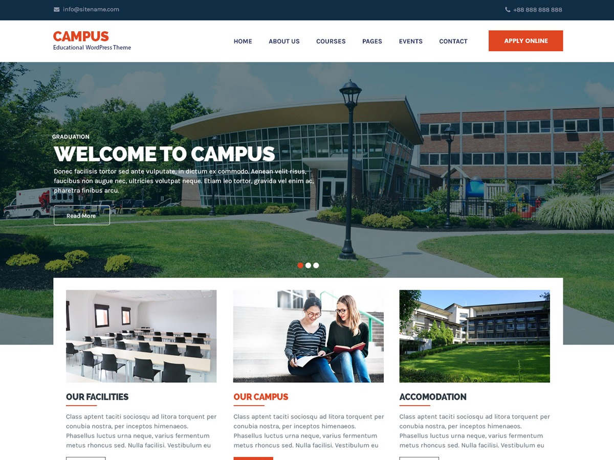 Campus Lite theme WordPress free