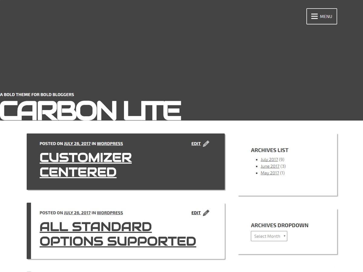 Carbon Lite template WordPress free