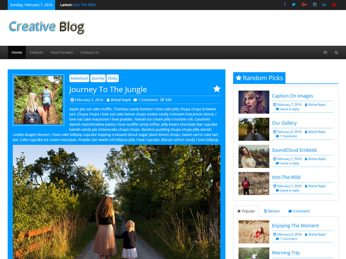 Creative Blog theme WordPress free