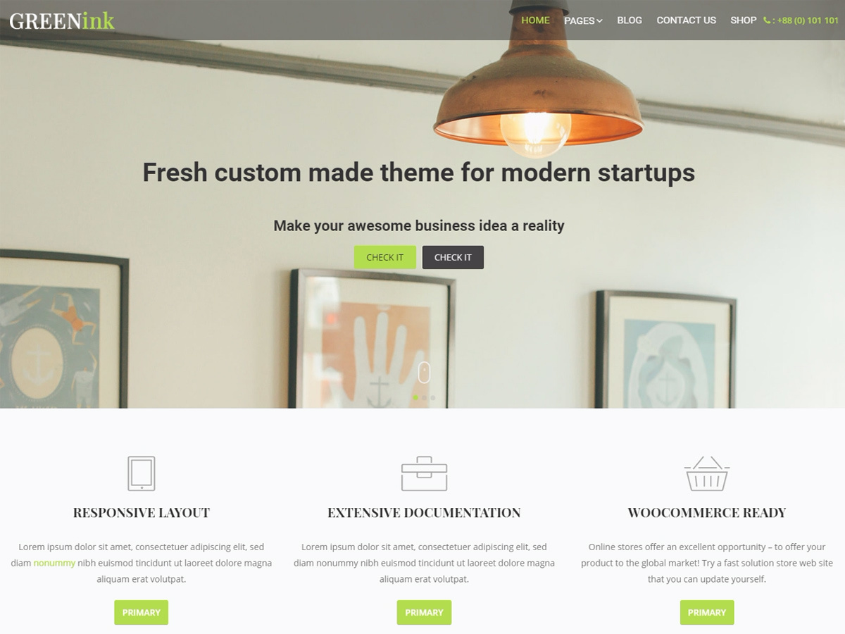 Green Ink WordPress template for business