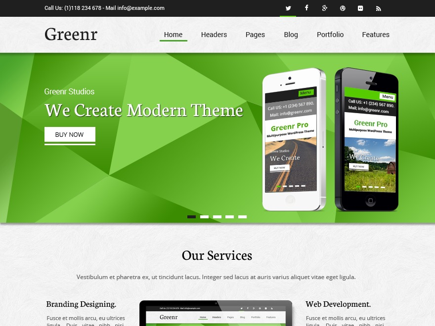 Greenr theme WordPress free