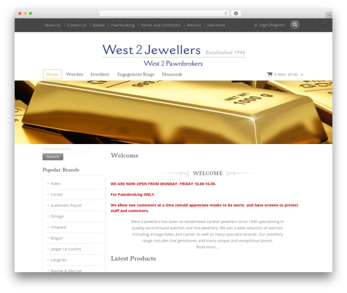 Jewellery best WordPress template - west2jewellers.co.uk