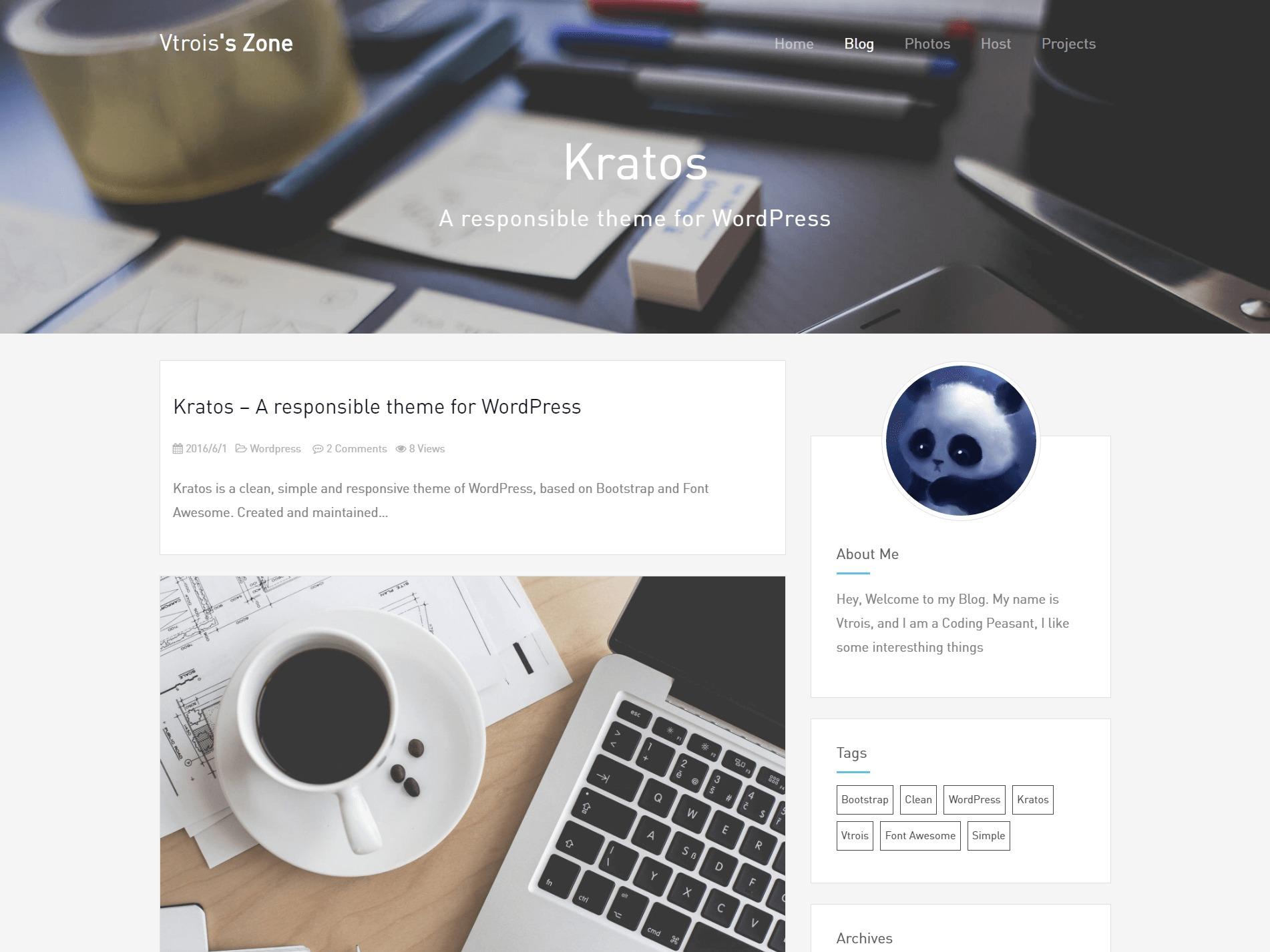 Kratos WordPress theme
