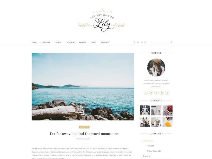 Lily WordPress blog template