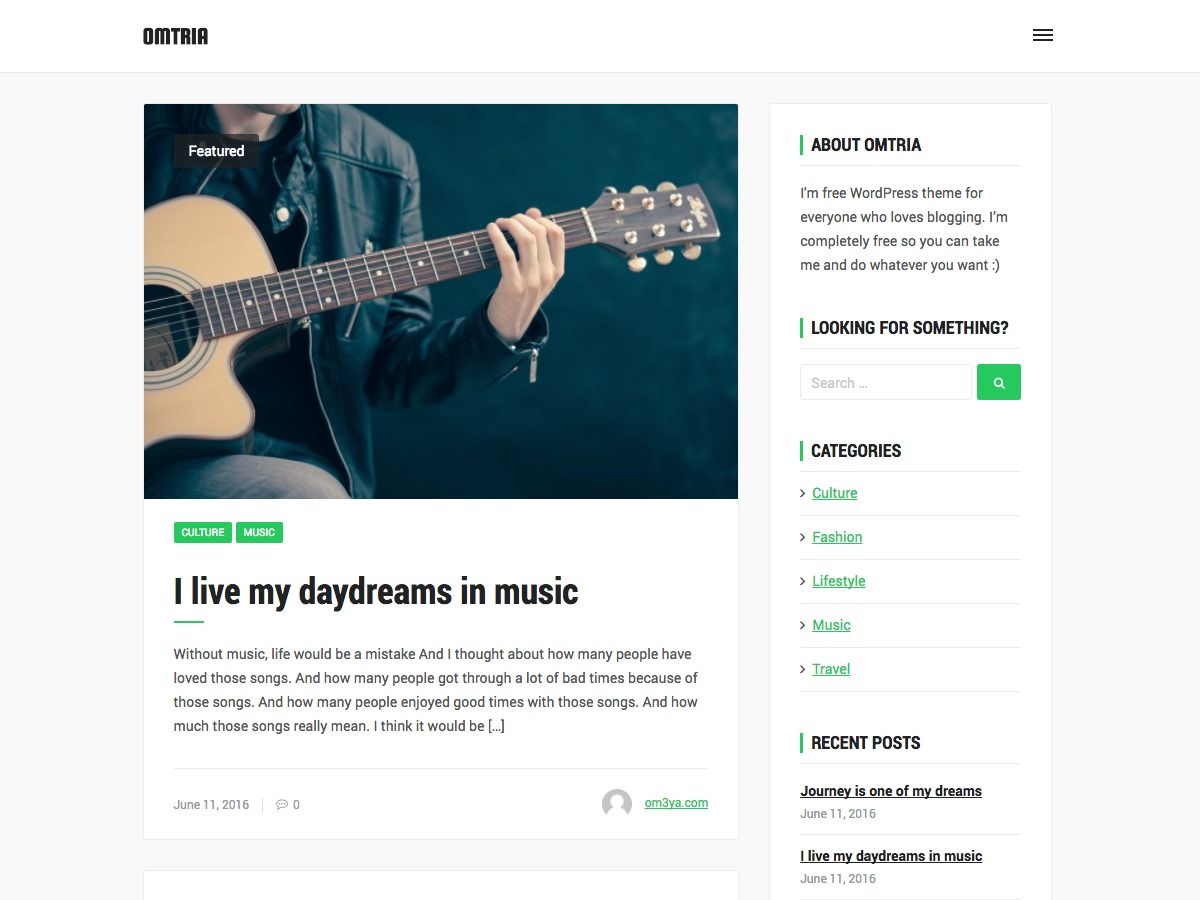 Omtria WordPress blog template