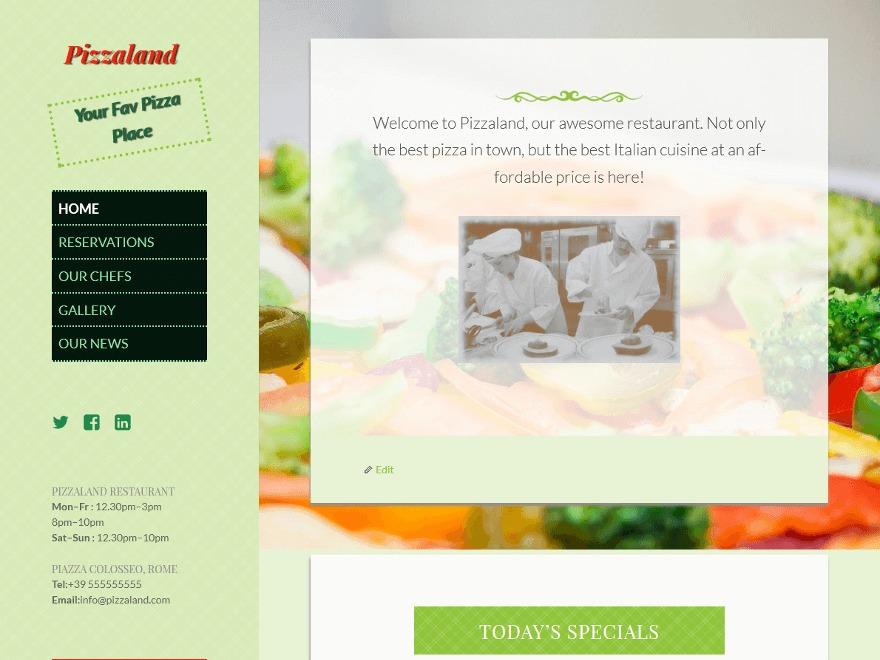 Pizzaland WordPress blog template