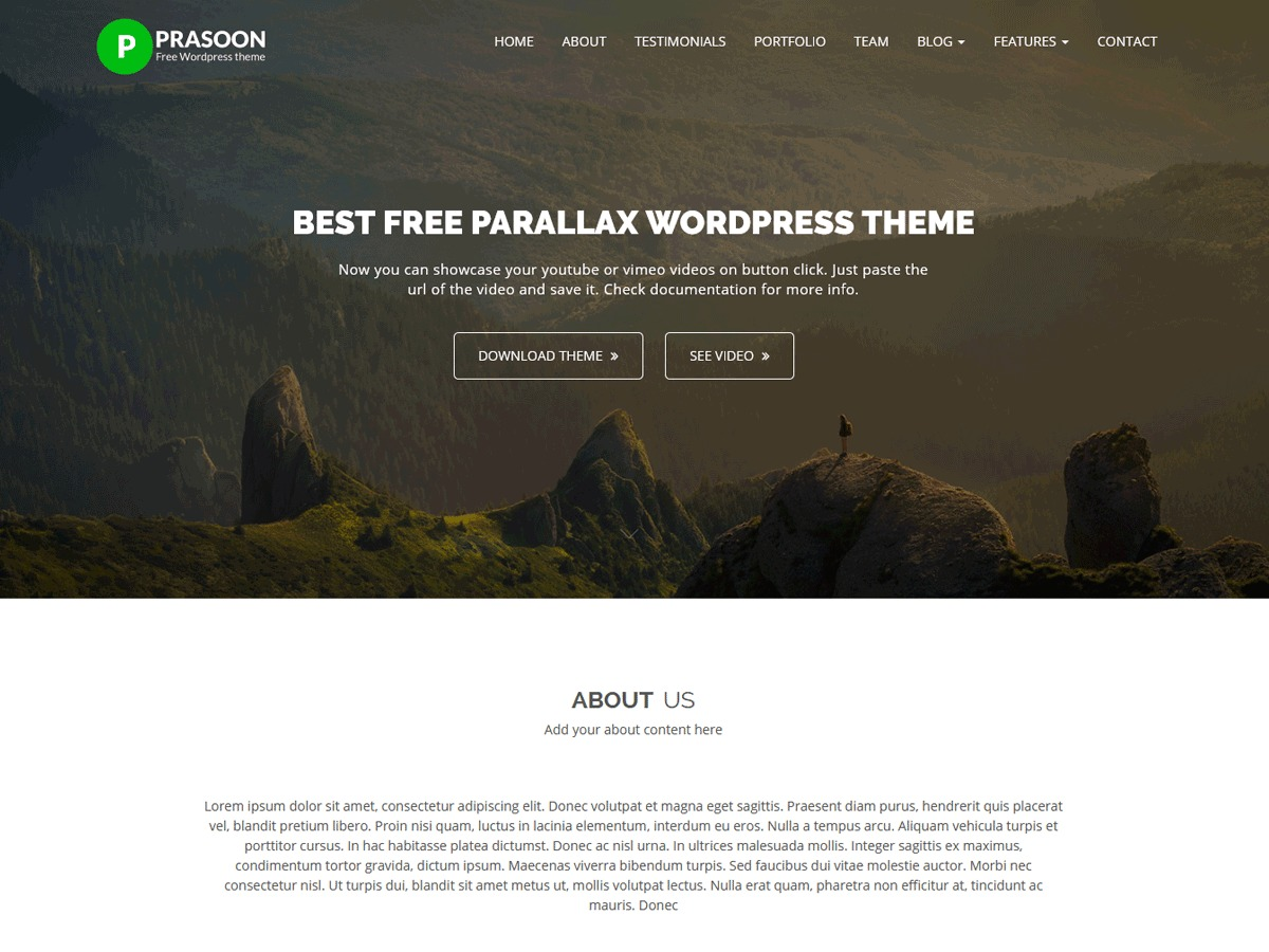Prasoon company WordPress theme