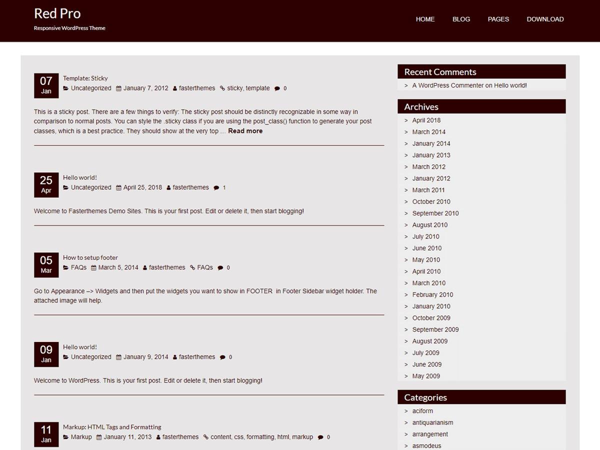 RedPro free website theme