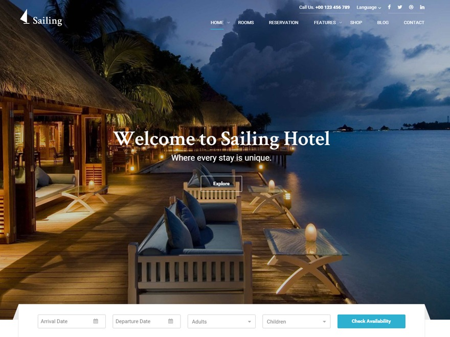 Sailing WordPress hotel theme
