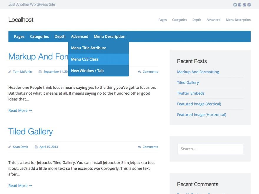 WordPress website template Presentation Lite by Sean Davis