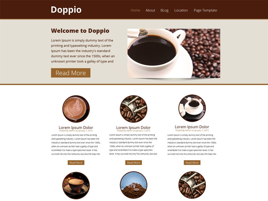 WP Doppio WordPress page template