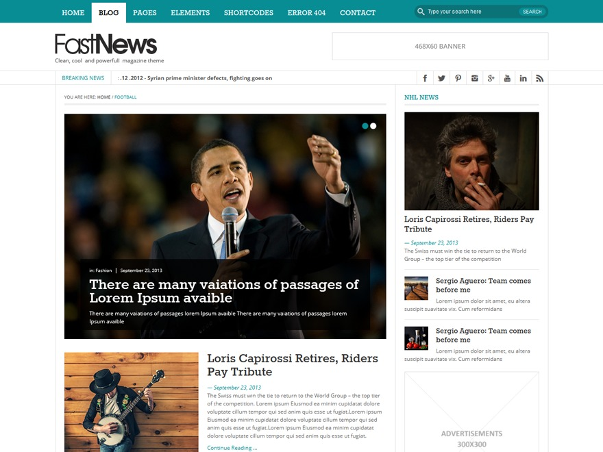 FastNews Light Child WordPress news template