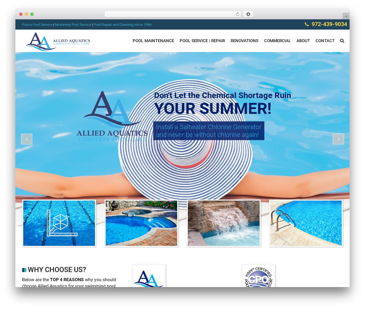 SwimmingPool best WordPress theme - alliedaquatics.com