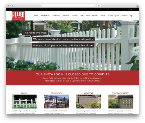 WP template Enfold - alliedfence.com