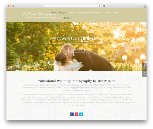 Divi WordPress theme design - aharrisphotography.com