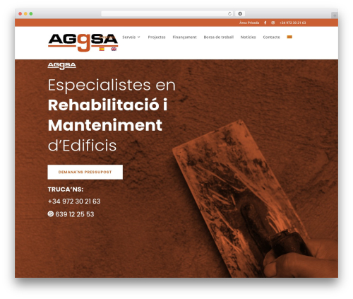 Divi business WordPress theme - aggsa.cat