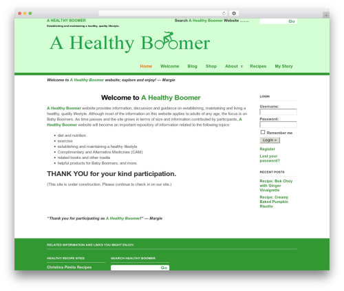 Clearly Modern WordPress template - ahealthyboomer.com